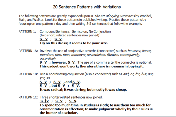 Picture of 20 patterns for sentence structures.