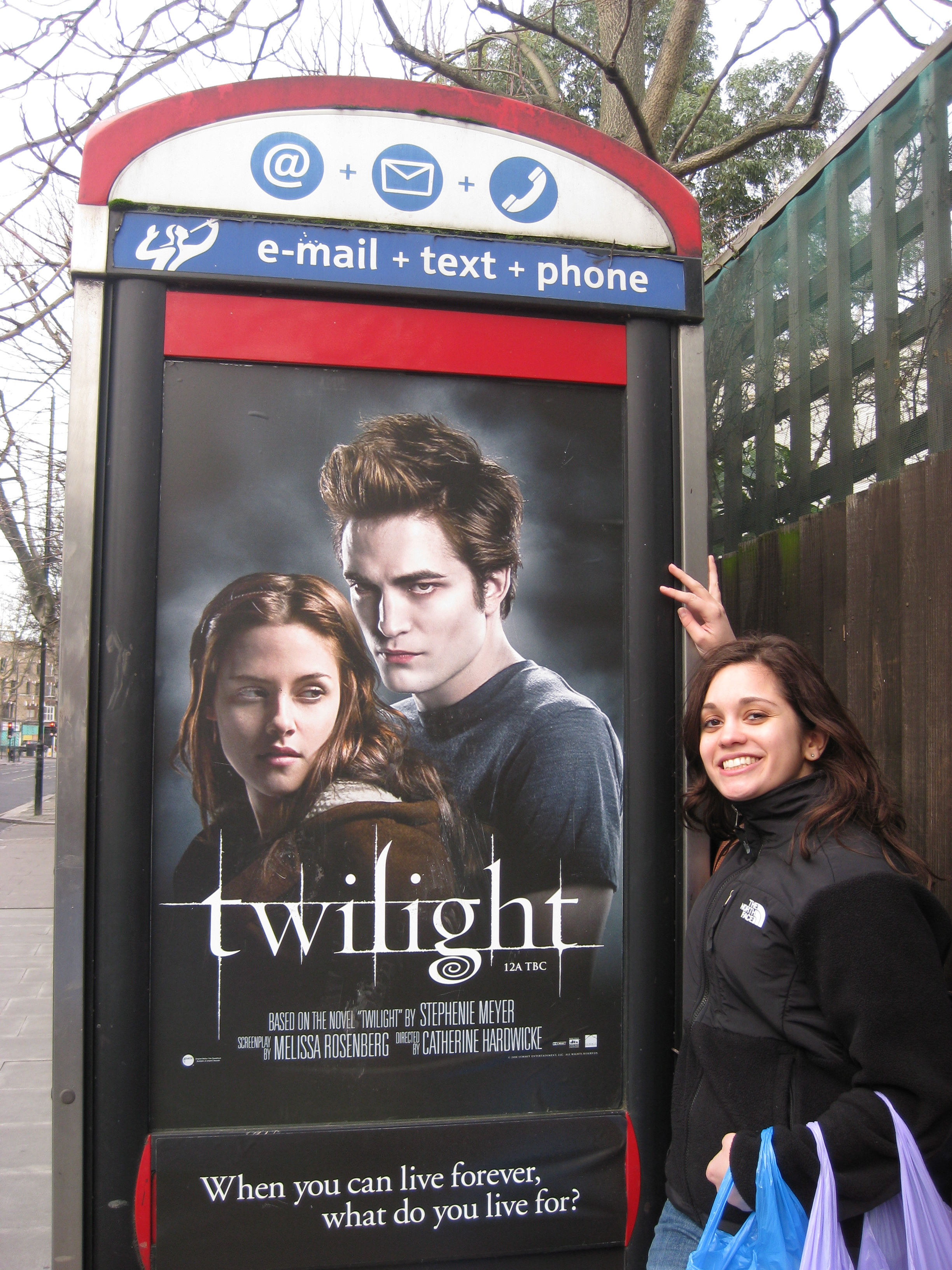 Me in London. I sent this picture back home to my Edward-obsessed friends