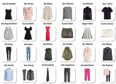 articles of clothing in german