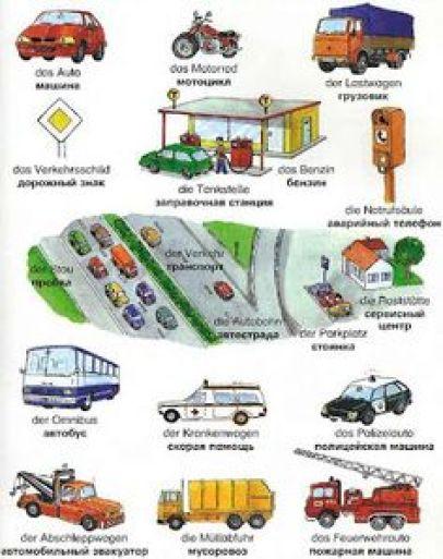 car vocabulary in german