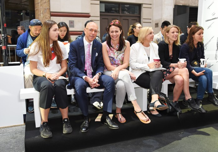 LONDON, ENGLAND - JUNE 13: (L to R) Georgia Jones, British GQ editor Dylan Jones, British Fashion Council CEO Caroline Rush and guests attend the Jermyn Street St James's catwalk show for London Collections Men on June 13, 2015 in London, England. (Photo by David M. Benett/Getty Images for The Crown Estate) *** Local Caption *** Georgia Jones; Dylan Jones; Caroline Rush