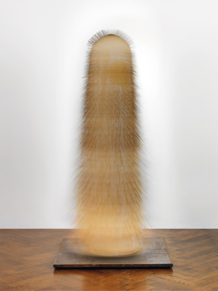 G++nther Uecker (b.1930), New York Dancer IV, 1965, nails, cloth, metal and electrical motor, 78 34 x 39 38 x 39 38 in. (200 x 100 x 100 cm.), (L0394). (2)