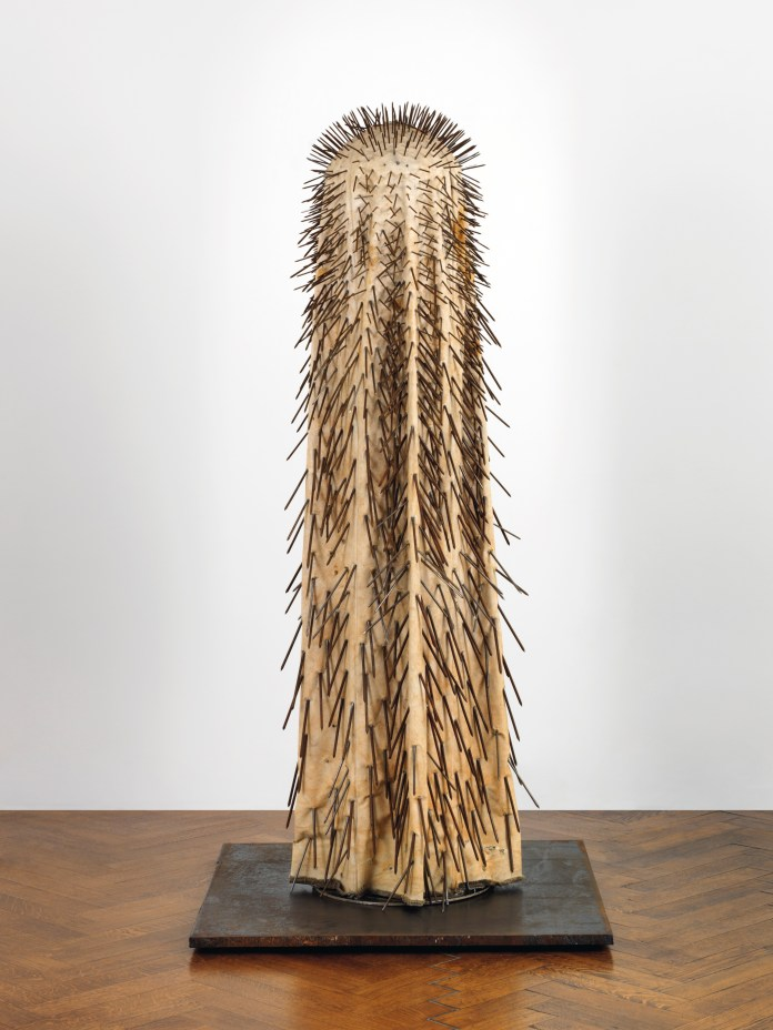 G++nther Uecker (b.1930), New York Dancer IV, 1965, nails, cloth, metal and electrical motor, 78 34 x 39 38 x 39 38 in. (200 x 100 x 100 cm.), (L0394).