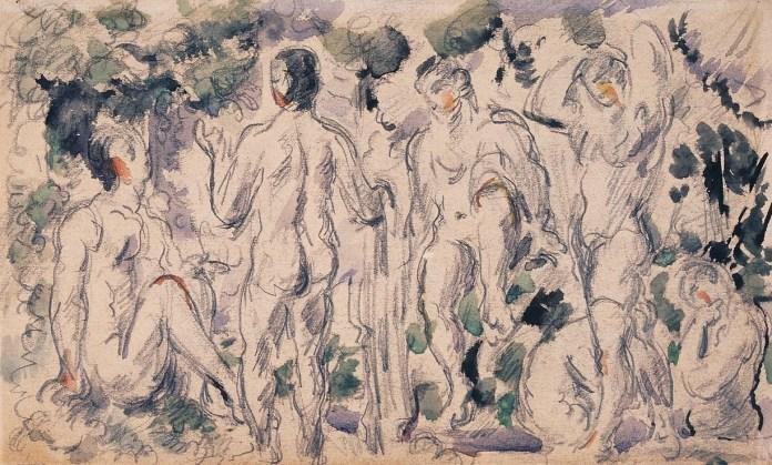 Paul Cezanne, Groupe de baigneurs, c.1880. Pencil and watercolour. Nukaga Gallery