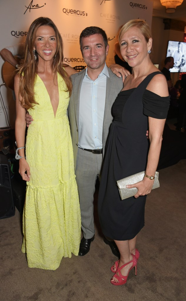 LONDON, ENGLAND - JUNE 24: (L to R) Heather Kerzner, Diego Biasi, Co-Founder & CEO of the Quercus Foundation, and Tania Bryer attend the Quercus Foundation Pre-Wimbledon Cocktails with Ana Ivanovic in the Ten Room at Hotel Cafe Royal on June 24, 2015 in London, England. Pic Credit: Dave Benett