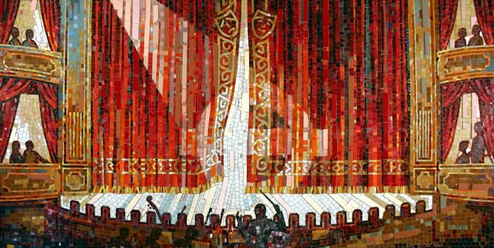 Mosaic artwork_1987.2_Trevor Caley_1986_Theatre travelcard
