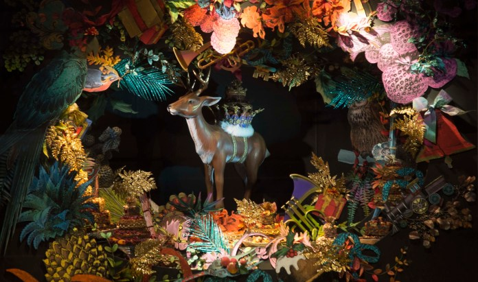 Last night, Fortnum & Mason marked the beginning of the countdown to Christmas with the unveiling of its famous festive windows, an annual highlight for Londoners. Pic Shows Fortnum's displays
