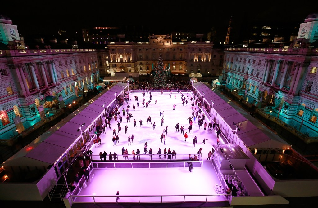 LONDON, ENGLAND - NOVEMBER 16: A general view during the opening party of Skate at Somerset House with Fortnum & Mason on November 16, 2016 in London, England. London's favourite festive destination opens at Somerset House on Thursday 17th November and runs until Sunday 15th January 2017. (Photo by David M. Benett/Getty Images for Somerset House Trust/Fortnum & Mason)