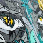 Graffiti van een veelkleurig gezicht dat lijkt opgebouwd uit grillige puzzelstukken. Het linker oog valt op door de felgele iris. De rest van het gezicht is samengesteld in kleurenvakjes in grijze en blauwe tinten. Door het zijwaarts camerastandpunt loopt rechterkant van het gezicht, waaronder het rechter oog, weg in onscherpte. De graffiti is gespoten op een bastenen muur waarvan je duidelijk nog de structuur ziet.