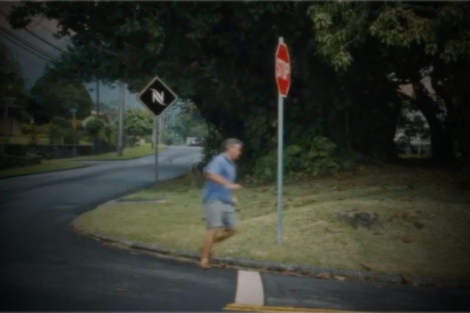 George Clooney running away