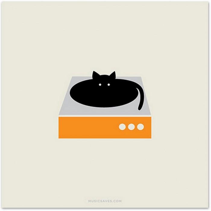 Kat op de platenspeler