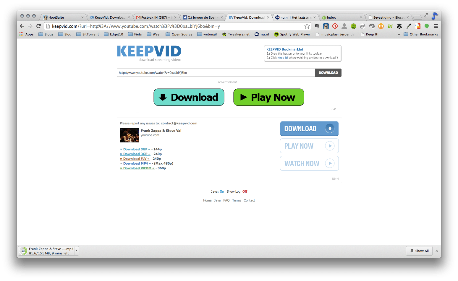KeepVid: streaming video's bewaren (Youtube, Vimeo en heel veel meer)