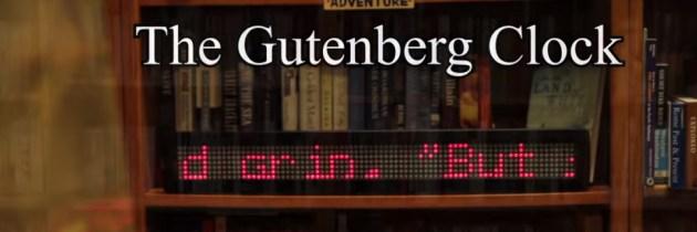 Auteursrechtvrije Gutenbergbibliotheek als klok