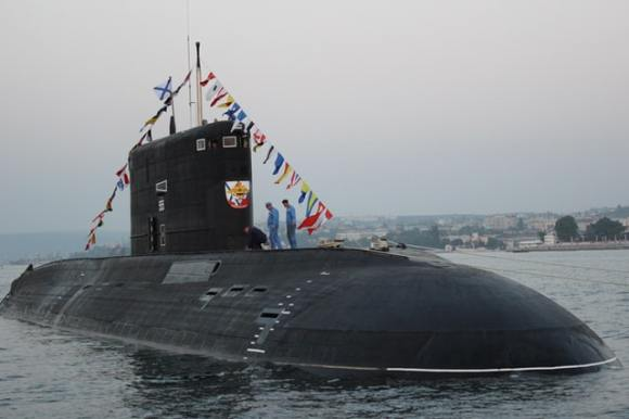 Submarine with flags