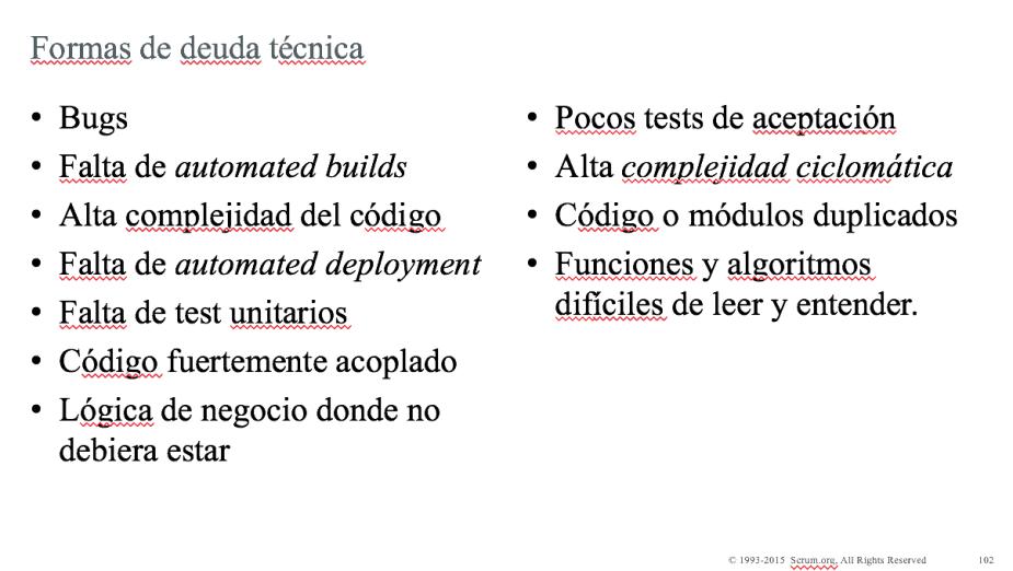 formas deuda técnica