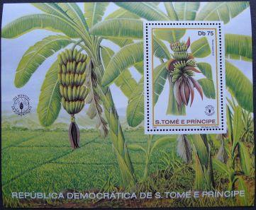 Republic of São Tomé and Príncipe, banana, Musa x sapientum, mini-sheet, 1981