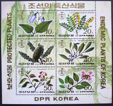 PDR North Korea, protected plants, mini-sheet, 1993