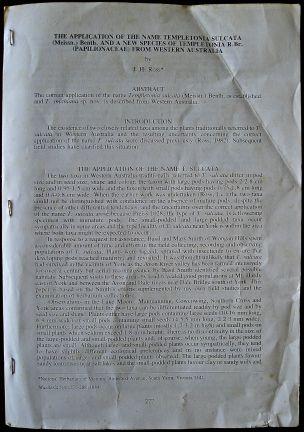 Front cover: Templetonia smithiana, 1983