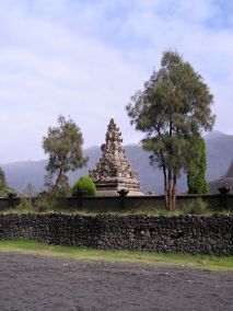 Poten temple, Tengger Crater. The Tenggerese are believed to be descendants of the Hindu Majapahit era, making them older than the Hindus of Bali.