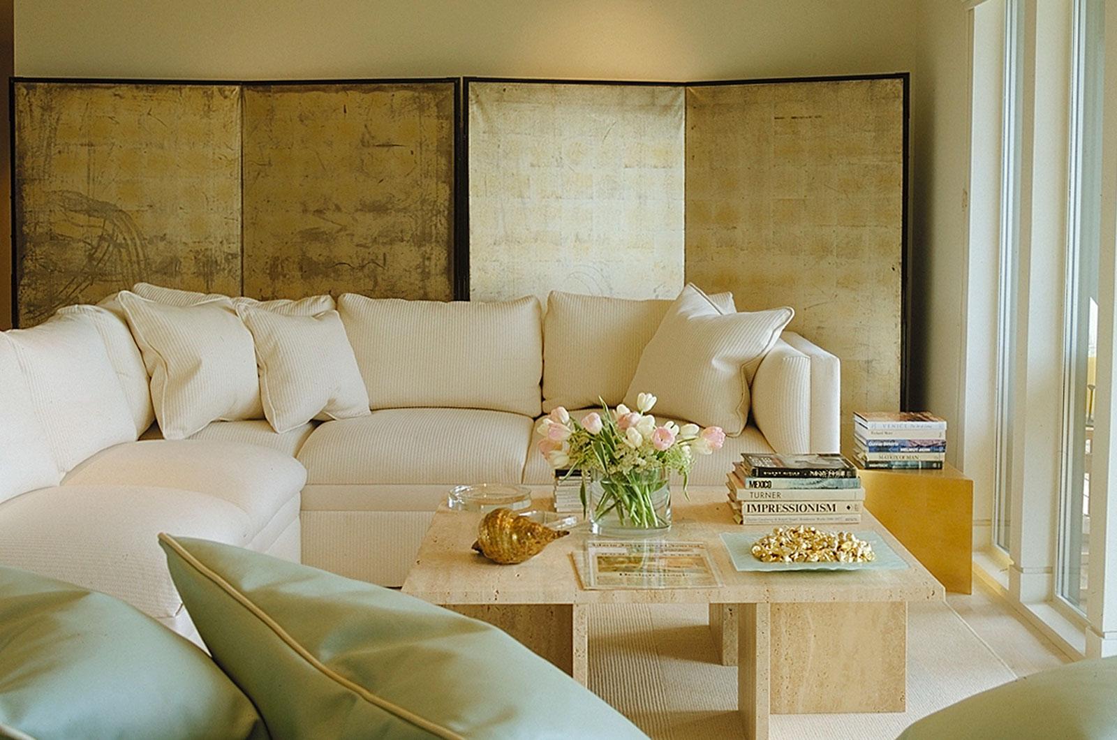 Jerry Jacobs Design. Tiburon view condo. Living room, Japanese screen