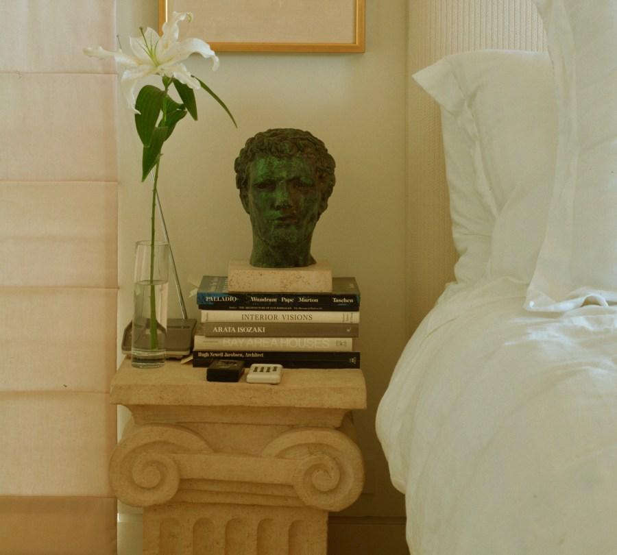 Cast stone nightstand
