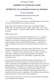 Universal vs Nintendo Summary Judgment