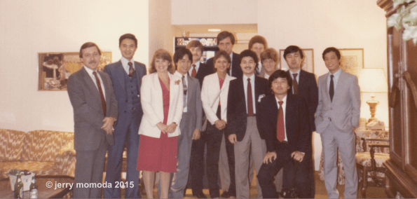 "1983 AMOA Show. Note a young Shigeru Miyamoto (fourth from left) and Genyo Takeda (second from right). And ""Knock-Out"" was still the working title for Punch-Out. I'm in the front with dark jacket and mustache."