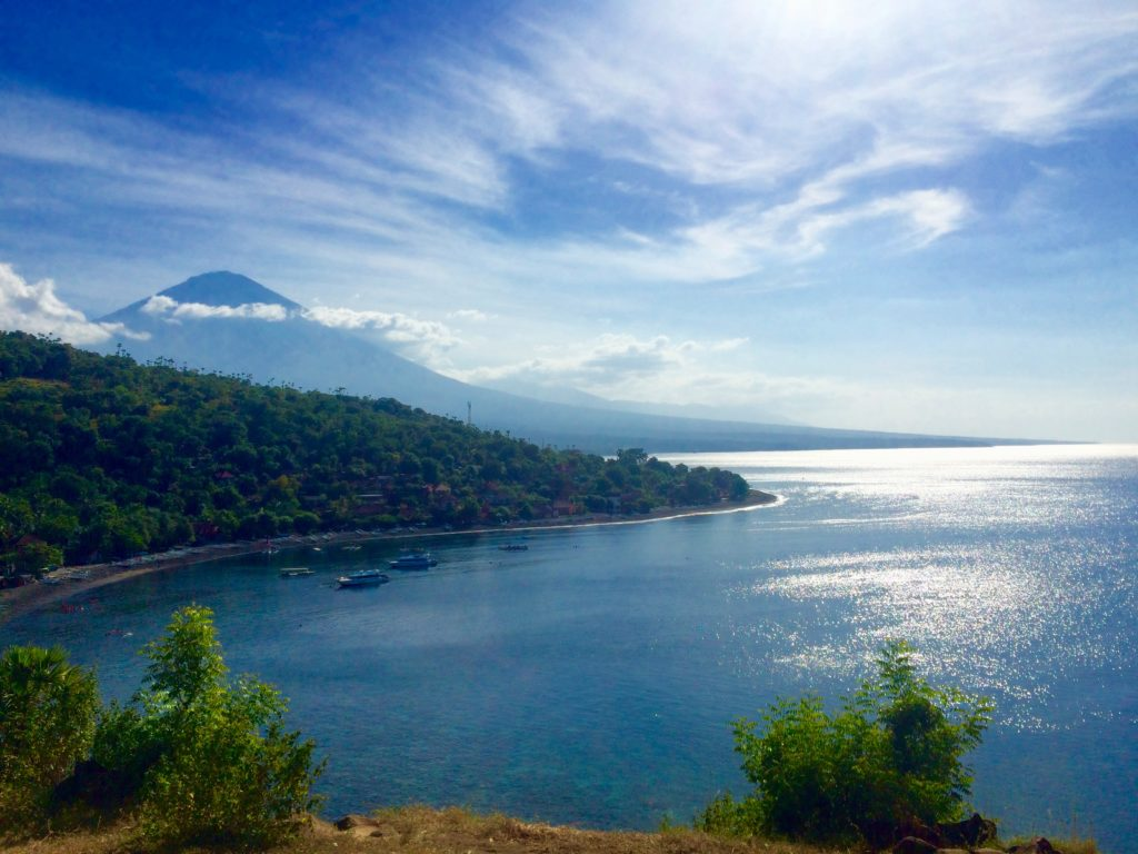 """Sunset Point"" in Amed, view on Jemeluk bay and mount Agung"