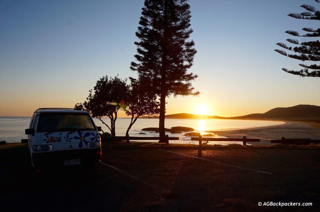 Notre hotel pour la nuit - Lever du soleil à South West Rock - Australie