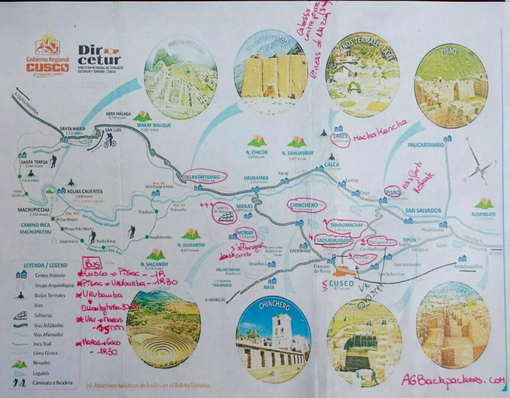 Carte de la vallée sacrée dans les environs de Cusco