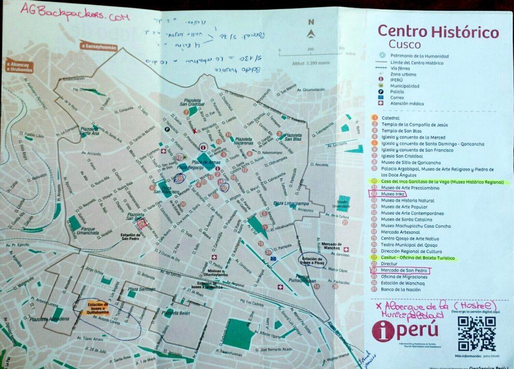 Plan du centre historique de Cusco