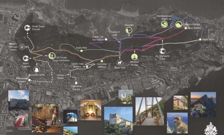 Mapa con sendero y actividades de la Reserva Natural de Gibraltar.