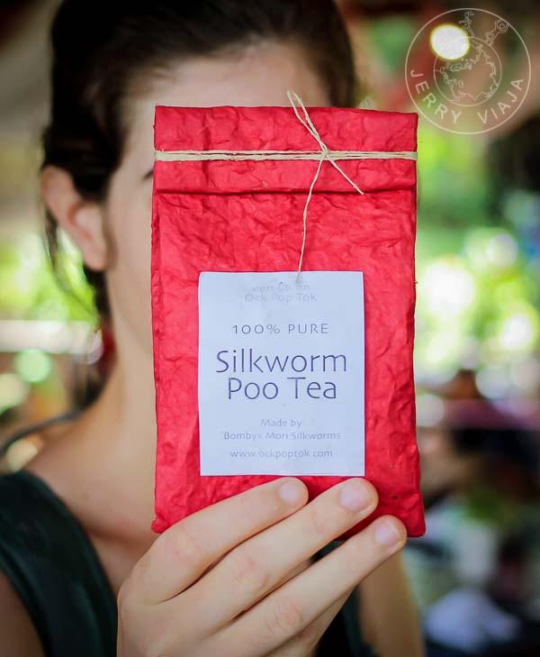 Sobre de té popo de gusano de seda.