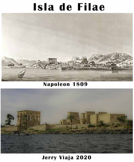 Comparacion de la isla Filae con su templo en Aswan, Egipto 2020 vs 1809