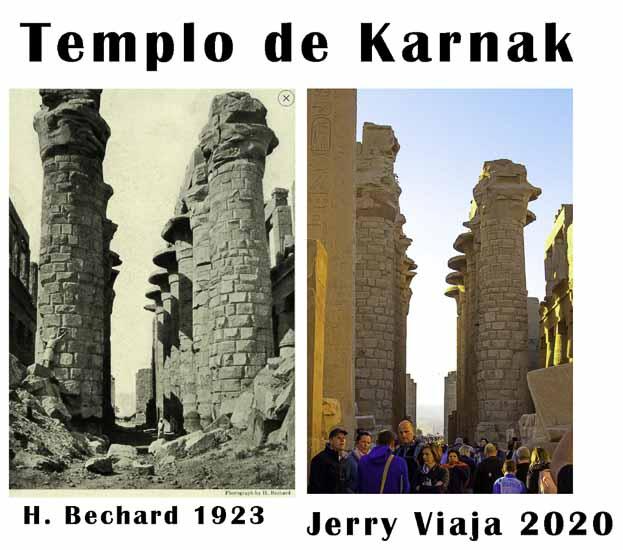 Comparacion del templo karnak en Egipto 2020 vs 1923