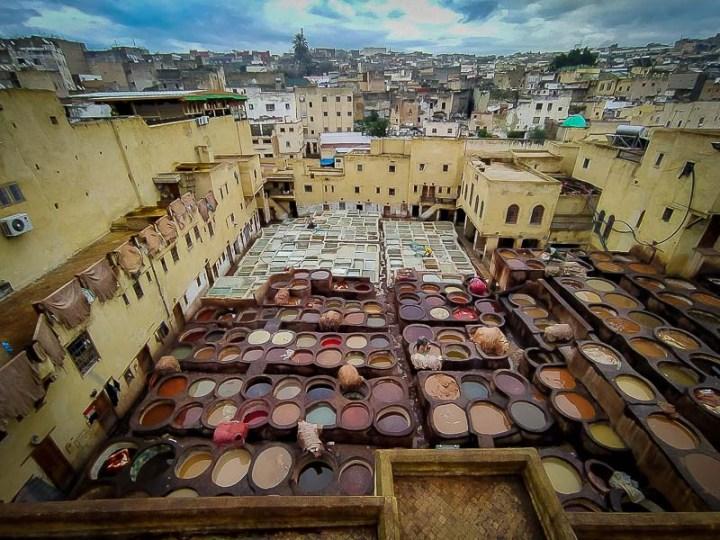 Curtiembre curtiduría chowara de fez, marruecos