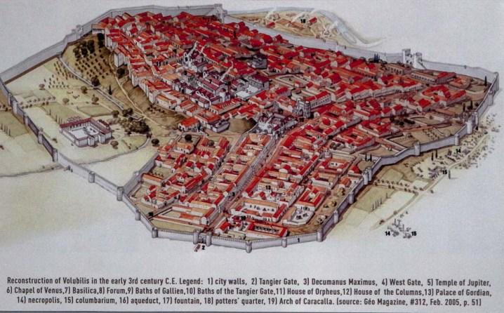 Mapa reconstruccion Volubilis, Marruecos