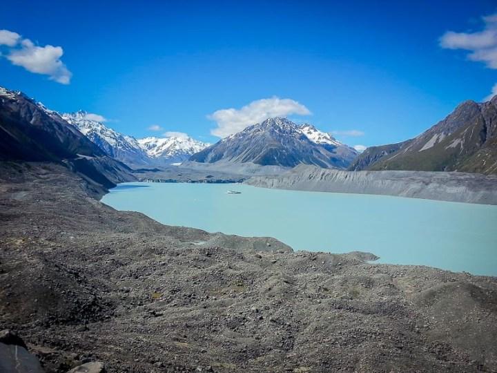Lago y glaciar tasman, parque nacional de aoraki mt cook, Isla Sur, Nueva Zelanda