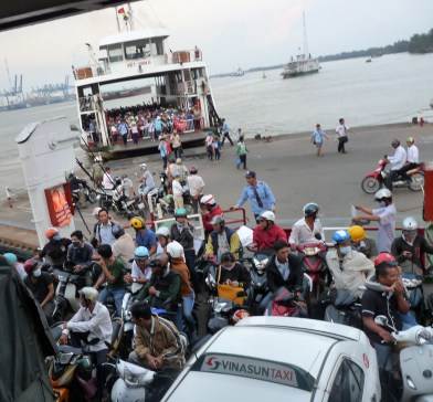 Loading the ferry to cross the river