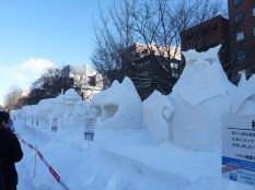 Many snow sculptures