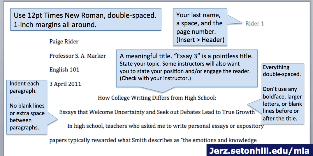 mla format example essays