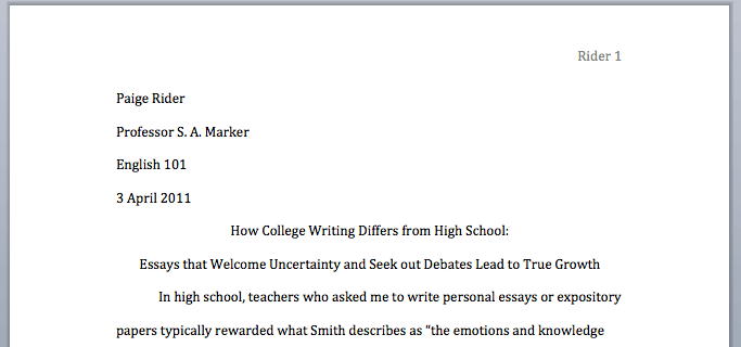 mla format for college papers