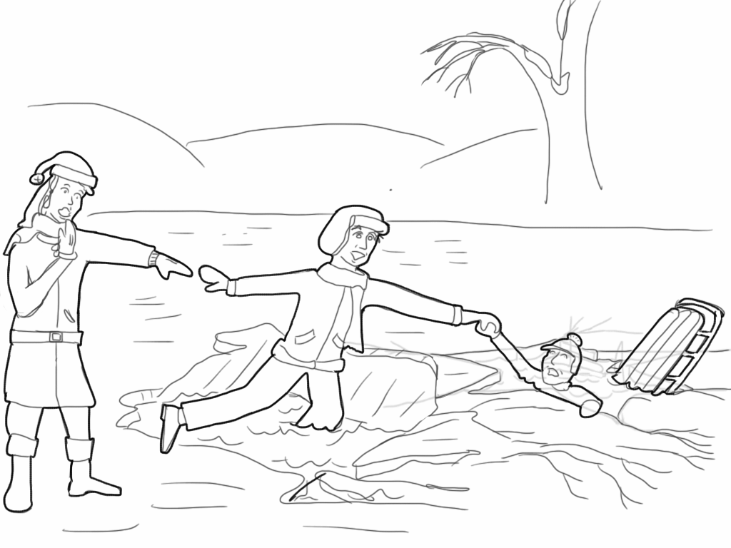 George Bailey rescues his brother Harry from the ice (coloring page).