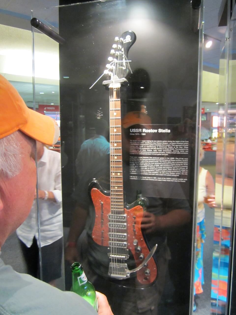 USSR cold war guitar. Compare with the ornate floral designs of the Teisco.