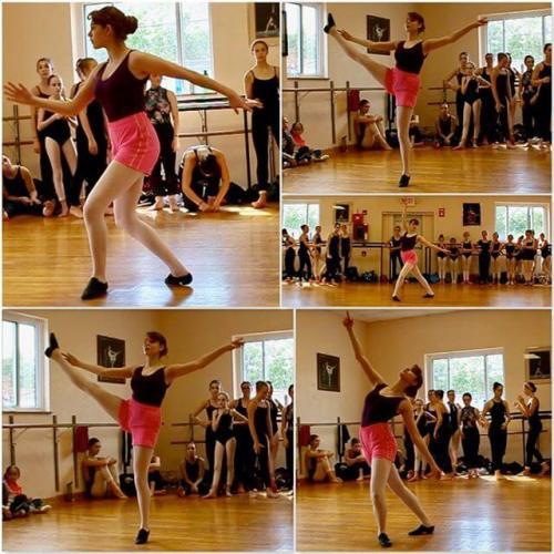 The girl's modern dance choreography workshop