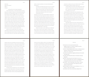 Image representing six pages in MLA style -- a typical five-page paper, and a Works Cited list.