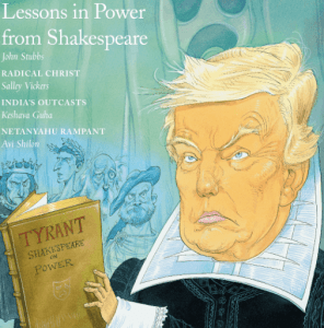 """Cartoon depicting Donald Trump in Elizabethan costume, holding a book titled """"Tyrant: Shakespeare on Power."""""""
