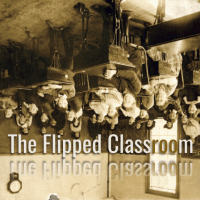 A historic picture of a classroom from the 1800s, inverted, so that the pupils are head-downwards.