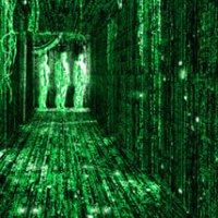"""A scene from the movie """"The Matrix,"""" symbolically showing objects formed out of shifting lines of computer code."""