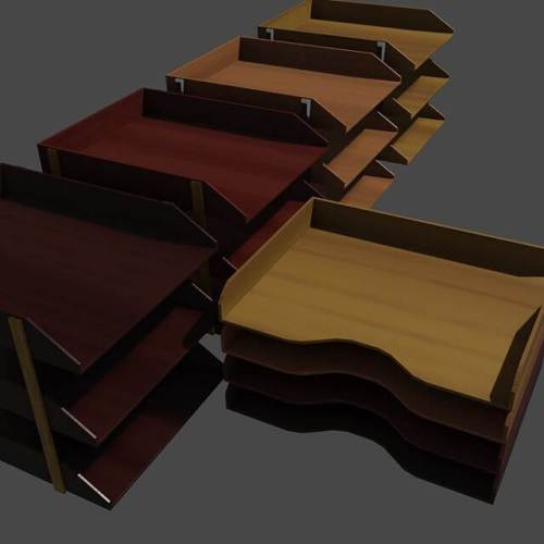 Desk trays, with procedural wood materials by Blendermada. #blender3d
